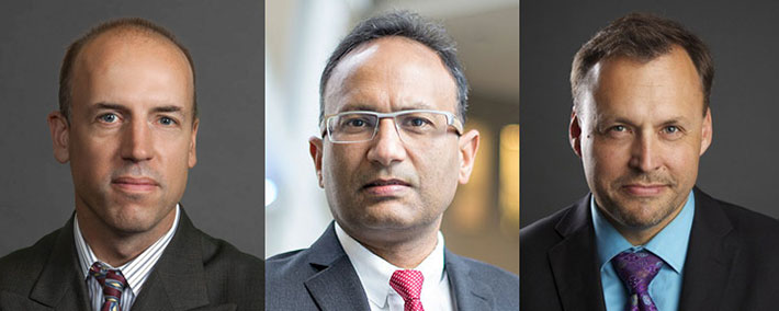 Dr. Hill, Dr. Goyal and Dr. Demchuk (from left) (Photos courtesy of the Cumming School of Medicine, University of Calgary)